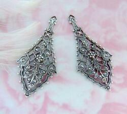 Antique Silver 2 Pieces Boho Earring Drops Filigree Stamping C-107