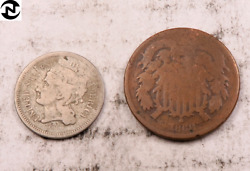 1868 Two Cent 2c + 1868 Three Cent 3c Set-lot // Fine + Ag // 2 Coins Tl97