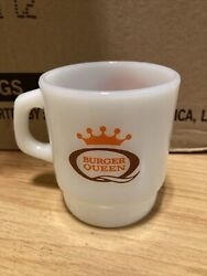 Vintage Burger Queen Good Morning White Fire King Mug Coffee Cup