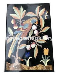 3and039x2and039 Marble Top Dining Table Gemstone Parrot Inlay Interior Art Home Decor B095
