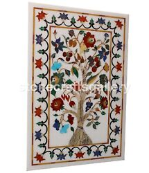 3and039x2and039 White Marble Dining Table Top Multi Stone Floral Inlay Interior Decor W028