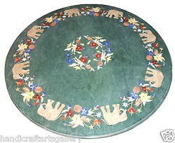30 Green Marble Center Round Table Top Elephant Inlay Marquetry Art Decor H2388