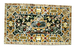 5and039x3and039 White Marble Dining Top Table Pietra Dura Inlay Stone Art Home Decors E959