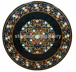 48 Black Marble Dining Table Top Multi Stone Floral Inlay Garden Art Decor B119