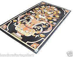4'x2' Black Marble Kitchen Table Top Rare Mosaic Inlay Marquetry Home Deco H2498