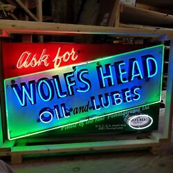 New Wolfand039s Head Oil And Lubes Neon Sign 58 W X 34h High - Lifetime Warranty