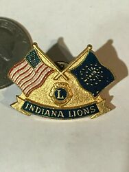 Lions Club International Pin Back Tie Tack Indiana 1969 Md25 Flags Vintage