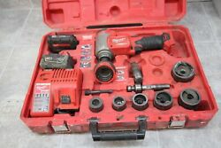 Milwaukee M18 Force Logic 10t Knockout Tool 2676-20 W/2 Batteries And Charger