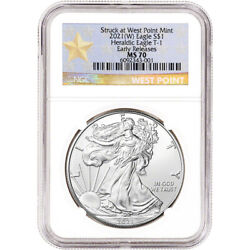 2021 W American Silver Eagle - Ngc Ms70 - Early Releases - Star Label