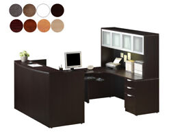Reception U Shaped Desk With Hutch Keyboard Tray Drawers Tack Board 8 Colors