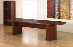 10 Foot Wooden Conference Table 120 X 48 Racetrack Shaped Top Half Drum Legs