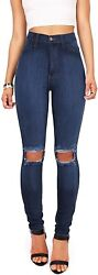 Vibrant Womenand039s Juniors Faded Ripped Knee High Waist Skinny Jeans