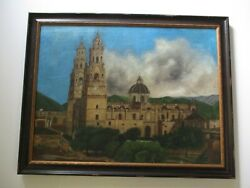 Large Antique Old Church Mission Town Landscape Painting Mexico South America