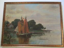 Antique Oil Painting Good Condition 1910 Landscape Coastal Boat Marina 37 Inches