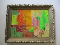 Mid Century Modern Painting Cubist Cubism Still Life Bottles Vintage Abstract