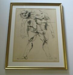 Leonard Baskin Etching Hand Pencil Signed Rare Abstract Expressionism Portrait