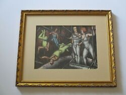 Antique Circus Drawing Acrobat Americana Expressionist Listed Rare Mod 1930's