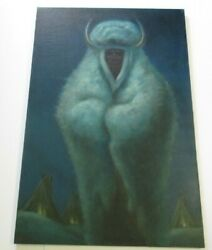 Becerra Painting Large Native American Indian Buffalo Chief With Teepee 48