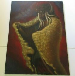 Becerra Painting Large Native American Indian Buffalo Chief With Headdress 48