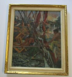Vintage Industrial Painting Marina Workers Construction Nautical Port Boat Ship