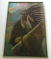 Becerra Painting Large Iconic Native American Indian Chief Portrait 1970and039s