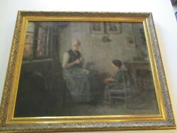 Painting Antique Portrait Masterful Impressionist Large 1920and039s Signed Interior