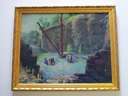 Antique American Mining Painting Impressionism 1920and039s Camp Site Regional Wpa Era
