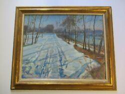 Gordon Cope Oil Painting 30 Inches Landscape Winter Impressionism Listed Vintage