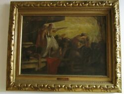 Gerald Brockhurst Painting Antique Rare Eclipse Figures Listed 1910's Ship View
