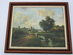 Antique Oil Painting Village Sled Windmill Farm Cows Cattle Landscape Signed