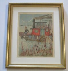 Museum Quality Americana Drawing River Steamboat Condo 1930's Wpa Style Antique