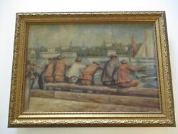 Antique Wpa Style Oil Painting 1930's Nautical Maritime Industrial Marina Beach