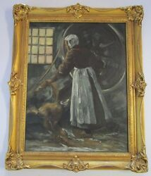 Painting Antique 19th Century Farm Mill Industrial Female Worker Impressionist