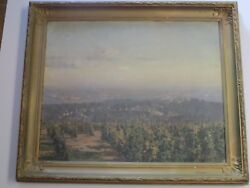 Old Vineyard Painting Cityscape View Impressionist Max Pistorius Listed Vintage