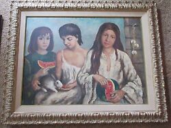 Painting In The Style Of Raphael Soyer Unsigned Large 3 Young Women Watermelon
