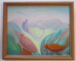 Raymond Dorleans Painting Haiti Surrealism Abstract Expressionism Birds Tropical