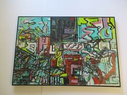 Large 38 Gerald Rowles Painting Fish Factory Cubisty Abstract Modernist Cubism