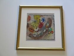 Vintage 1950and039s Mid Century Painting Signed Glass Happy Time Train Abstract 1953