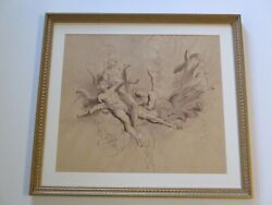 Vintage Antique Painting Old Master Style Nude Nudes Iconic Angels Mystery Art