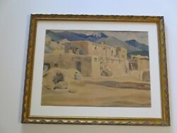 F.w Bergman Painting Native American Indian Taos Pueblo Landscape Tribal 1930and039s