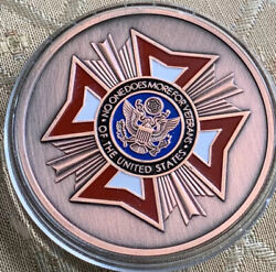 """Vfw Veterans Foreign War Challenge Coin Large 50mm 2"""" Inch With Protector Case"""