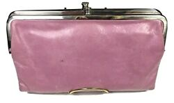 HOBO INTERNATIONAL Pink Leather Lauren Clutch Folded Wallet 10th B Day Edition $24.99