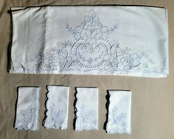 Vintage Linen Blue Embroidered Cutwork Pillowcases 34x21 4 Hankies 10.5 Jh