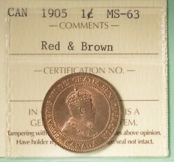 1905 Canada Large Cent - Graded - Iccs Ms-63 - Serial Xhw 322