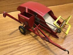 Vintage Red Tru Scale Pull Type Combine Harvester Metal Farm Toy Usa