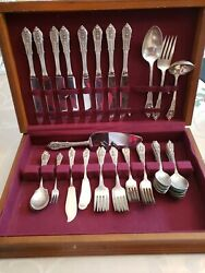 Sterling Silverware By Wallace Silversmiths Rose Point Pattern Svc For 8