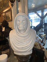 """Carved Marble Skull Bust 16 1/2 Inches Wide 22""""'tall"""