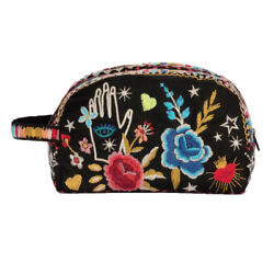 Johnny Was MARIS Cotton Make Up Black Bag Cosmetic Case Clutch Pouch Eye New $110.00