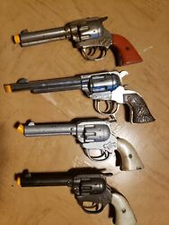 Vintage Lot Of 4 Gene Autry Toy Cap Guns Western Television Series Shows...