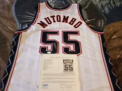 Dikembe Mutombo Autographed New Jersey Nets Game Issued Jersey, Jsa Full Letter